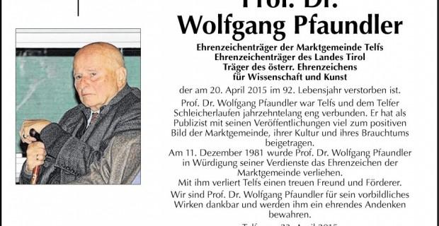 Faire-part de décès de Wolfgang Pfaundler.