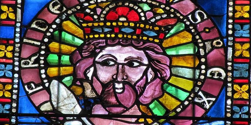 Alsace, Bas-Rhin, Strasbourg, Cathédrale Notre-Dame, Bas-côté nord, Vitraux (1210-1270), Empereurs du Saint-Empire: Frédéric Barberousse de Hohenstaufen